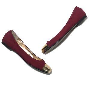 Worthington Red & Gold Toe Flats Women's size 8.5